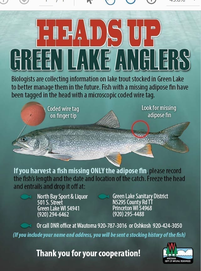 Heads up.  Green Lake (WI) Trout Fisherman